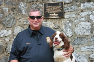 Hagerstown MD Fire Marshall and Calvin, incendiaries detection dog